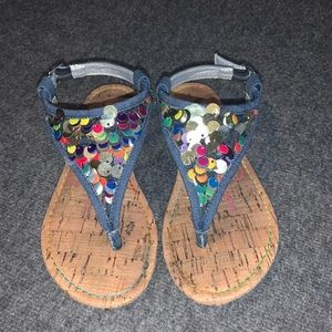 Jessica Simpson Girls Multi Sequined Denim Sandals